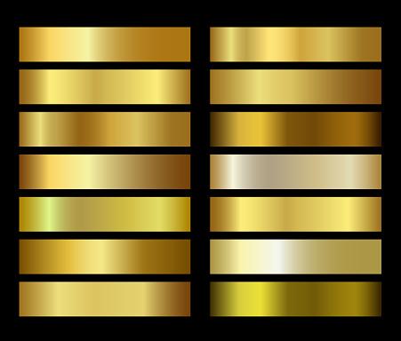 Gold foil texture gradients templates set