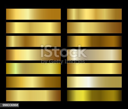 Gold foil texture gradients templates set. Golden vector gradation collection design for for backgrounds, cover, frame, ribbon, banner, coin, label, flyer, card, icon etc.