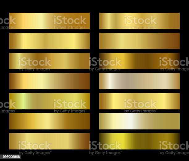 Gold Foil Texture Gradients Templates Set - Immagini vettoriali stock e altre immagini di Arte