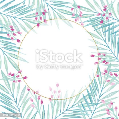 istock Gold Frame Background with Hand Painted Watercolor Delicate Leaves and Berries . Oil, Acrylic Painting Floral Pattern. Design Element for Greeting Cards and Wedding, Birthday and other Holiday and Summer Invitation Cards Background. 1200781763
