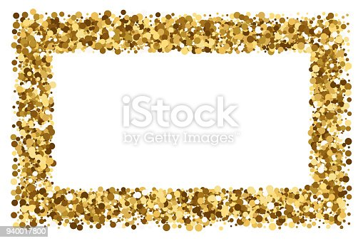 b3e4d207f823 Gold Frame Glitter Texture Isolated On White Background Stock Vector