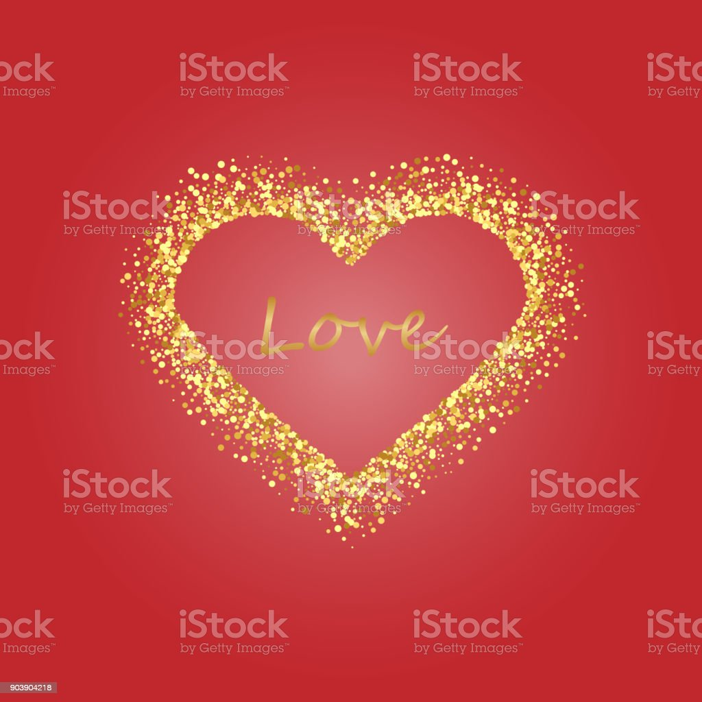 Gold Frame Of Scatter Confetti In The Shape Of Heart Border Design ...