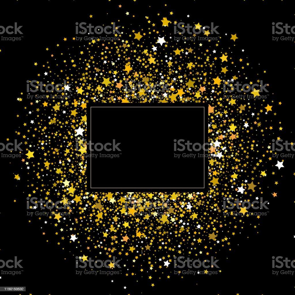 Gold frame of stars. Falling stars on dark background. Stars...