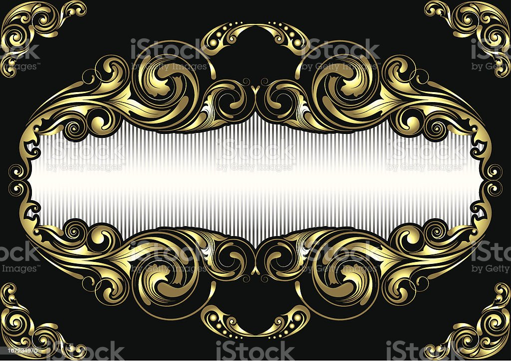Gold Bilderrahmen Auf Schwarzem Hintergrund Stock Vektor Art und ...