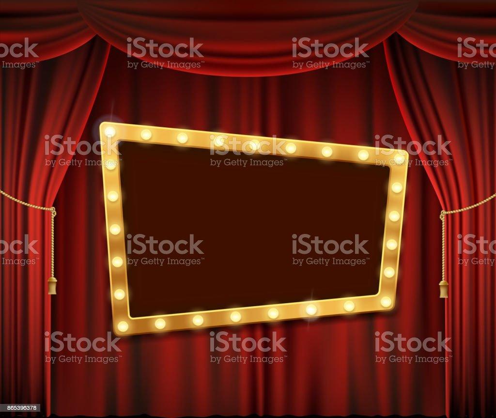 Gold frame on red curtain vector art illustration