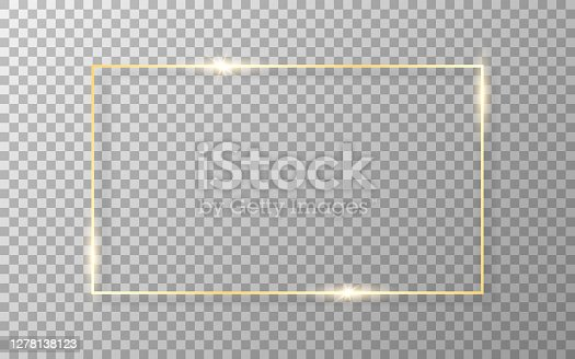 istock Gold frame on transparent background. Luxury golden border. Shiny rectangle with soft shadow. Wedding or fashion object. Realistic template. Vector illustration 1278138123