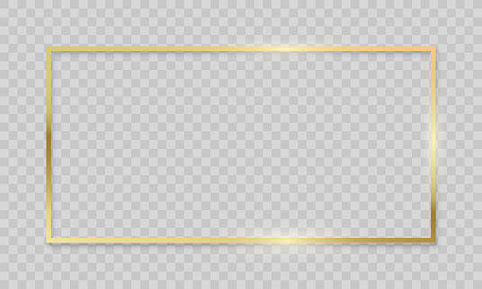 Gold frame on transparent background. Vector realistic isolated golden shiny glowing border frame