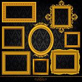 Vector illustration of a set of gold frames. High resolution jpg file included.