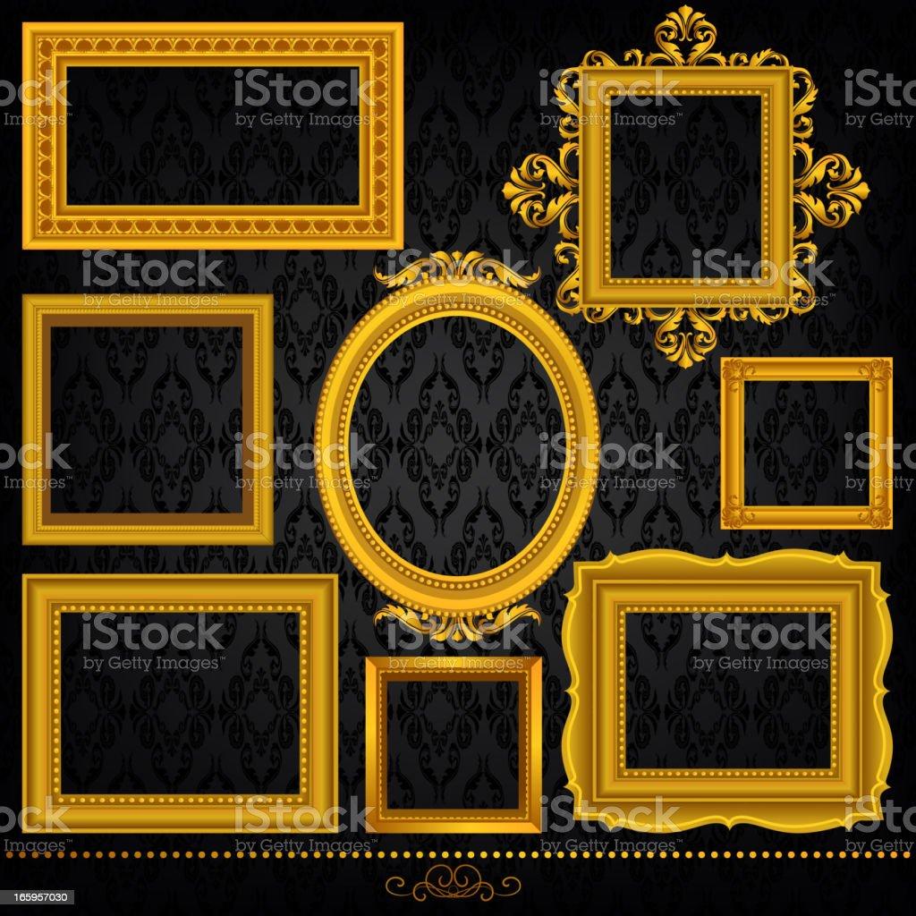 Gold Frame Set vector art illustration