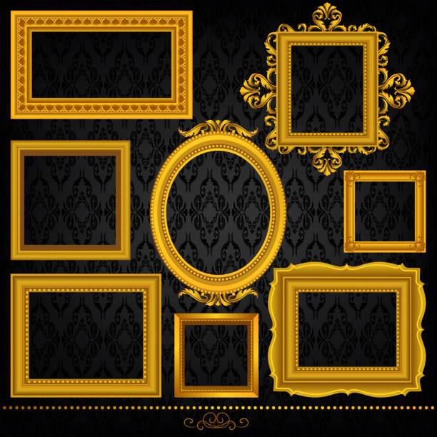 stockillustraties, clipart, cartoons en iconen met gold frame set - barokstijl
