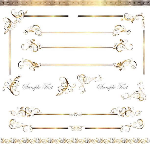 ゴールドフレームセット - 飾り点のイラスト素材/クリップアート素材/マンガ素材/アイコン素材