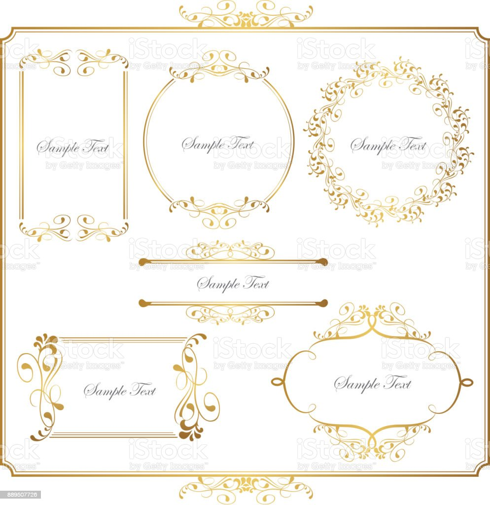 gold frame set vector art illustration
