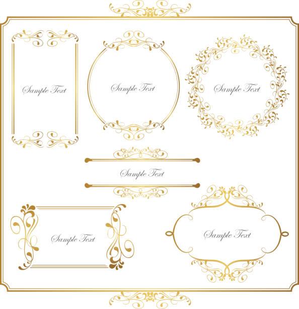 gold frame set - decoration stock illustrations