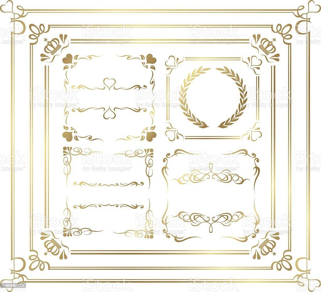 Gold Bilderrahmen Set Vektor Stock Vektor Art und mehr Bilder von ...
