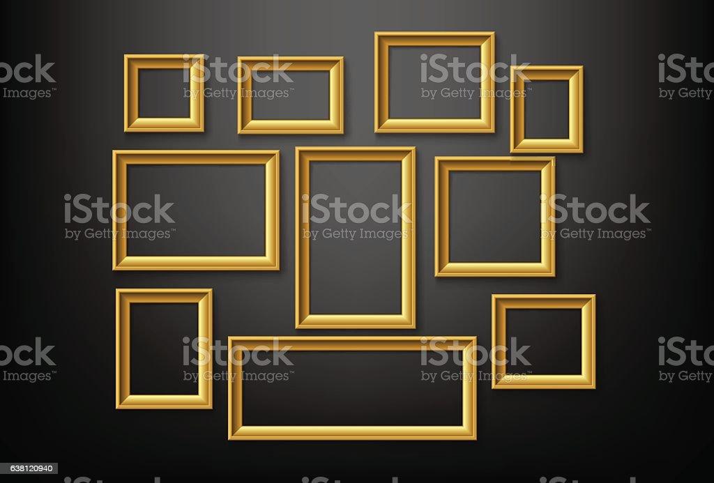 Marco de oro - ilustración de arte vectorial