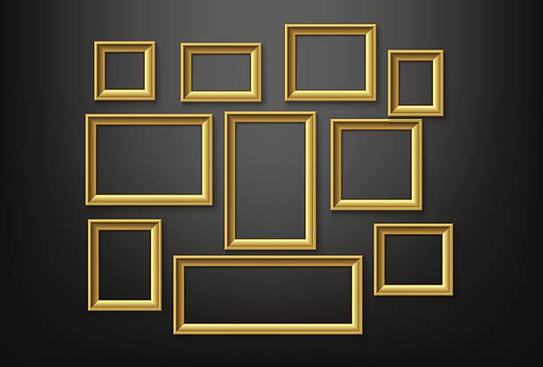 ilustraciones, imágenes clip art, dibujos animados e iconos de stock de marco de oro - bordes de marcos de fotografías