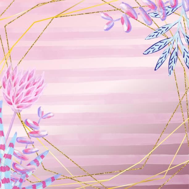 goldrahmen mit handgezeichneten blättern, blumen und sukkulenten isoliert auf rosa farbverlauf farbigen hintergrund. öl, acryl-malerei blumenmuster. design-element für grußkarten und hochzeit, geburtstag und andere urlaub und sommer einladung sendekart - clipart goldene hochzeit stock-grafiken, -clipart, -cartoons und -symbole