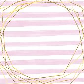 Gold Frame with Hand Drawn Watercolor Pink Stripes  Background. Oil, Acrylic Painting Floral Pattern. Design Element for Greeting Cards and Wedding, Birthday and other Holiday and Summer Invitation Cards Background.