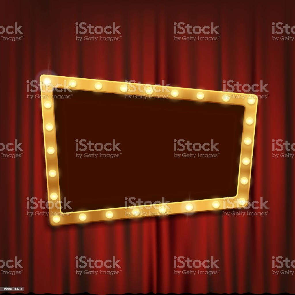 Gold frame with light bulbs on the red theatrical curtain. vector art illustration