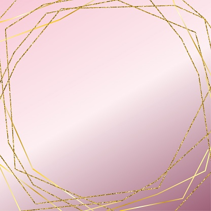 Gold Frame with Pink Gradient  Background. Design Element for Greeting Cards and Wedding, Birthday and other Holiday and Summer Invitation Cards Background.