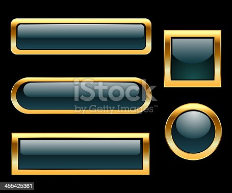 Self illustrated golden framed buttons.Very easy to edit vector file.
