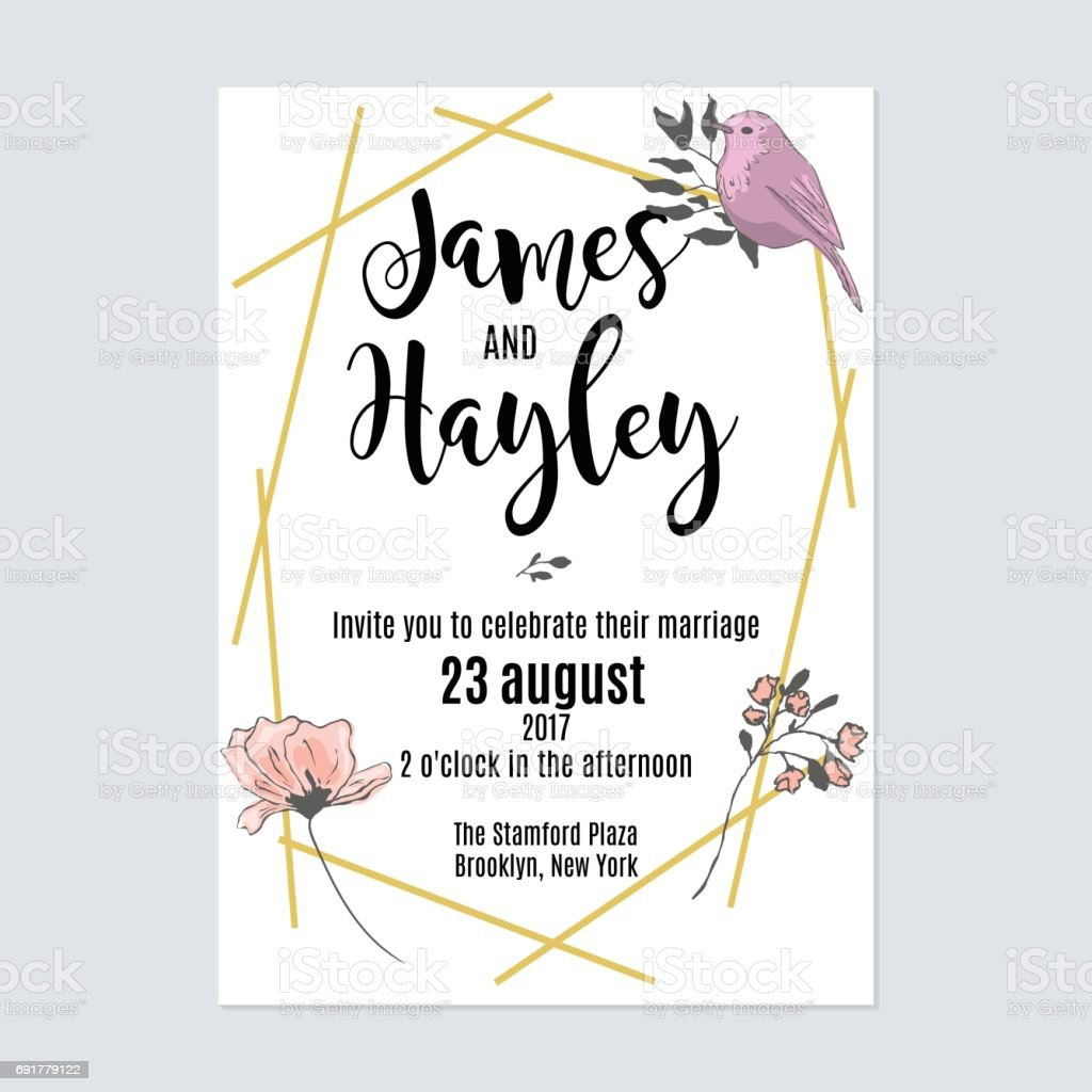 Gold Geometric Lines Floral Wedding Invitation Card Template ...