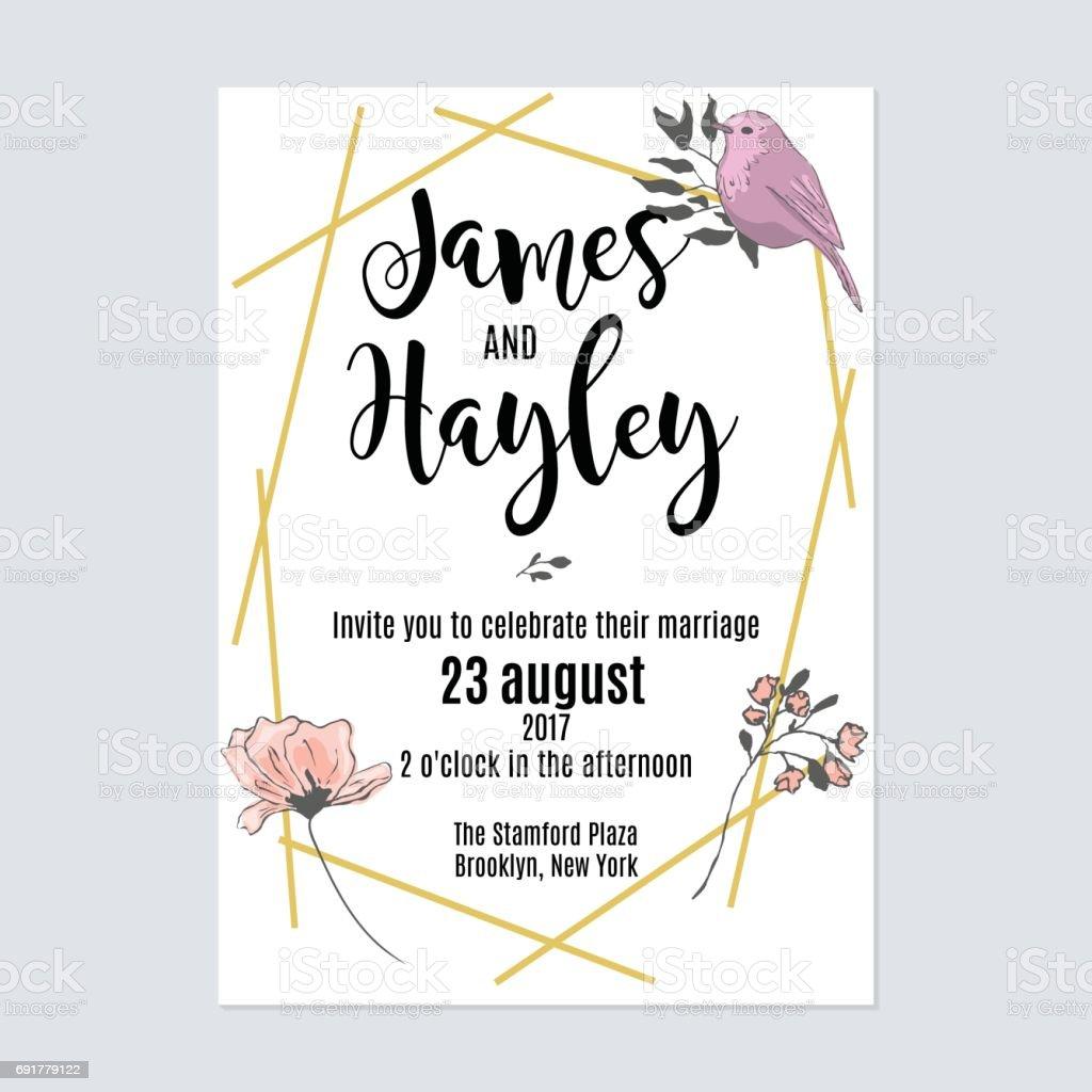 Gold Geometric Lines Floral Wedding Invitation Card