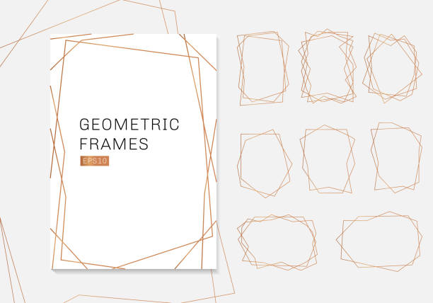 Gold geometric polyhedron frames collection. luxury templates art deco style for wedding invitation Gold geometric polyhedron frames collection. luxury templates art deco style for wedding invitation. Decorative patterns modern abstract elements. Vector illustration geographical border stock illustrations