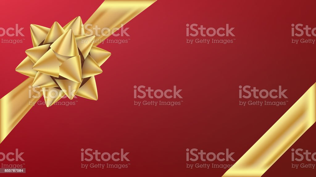 Gold Gifr Ribbon With Bow Vector. Gift Element For Card Design. Holiday Background Illustration vector art illustration