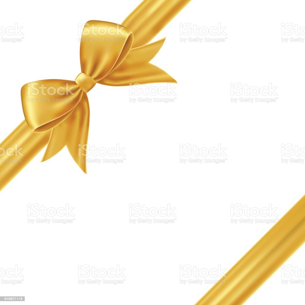 gold gift bow and ribbon stock vector art more images of