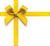 Vector illustration of a gold bow with ribbons.