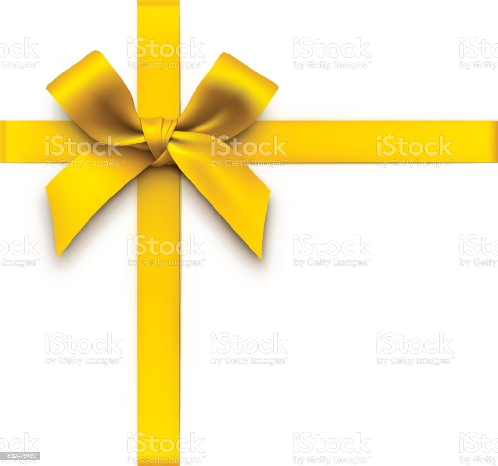 Gold Gift Bow with Ribbons vector art illustration