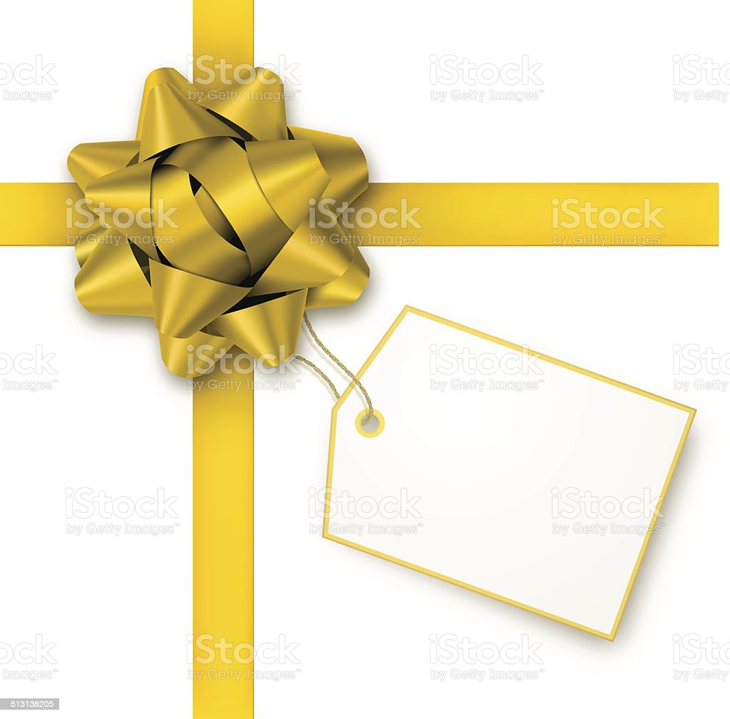 Gold Gift Bow with Tag vector art illustration