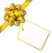 Gold gift bow with tag. EPS10 drop shadow effect.