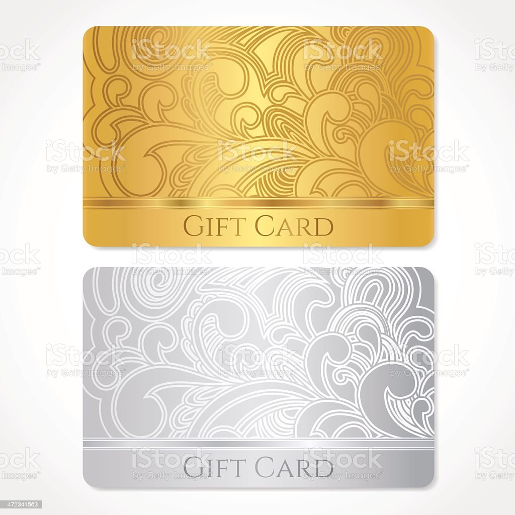 Gold Gift Discount Business Card Template With Scroll Shape Pattern ...