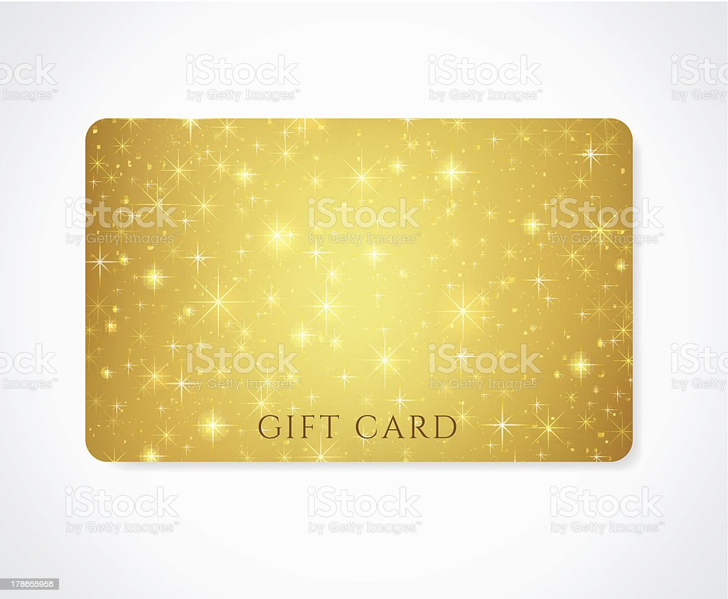 Gold Gift / Discount /Business card template with sparkling, twinkling stars vector art illustration