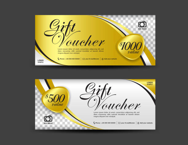 gold gift voucher template white coupon design ticket banner cards