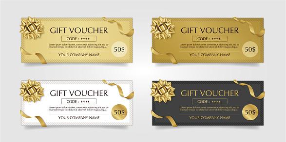 gold gift voucher tickets vector
