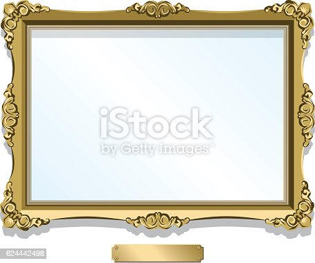 A vector illustration of a golden gilt frame. Empty, designed to fit a 6X4 image. A blank brass plaque sits underneath. File is layered and easily editable.