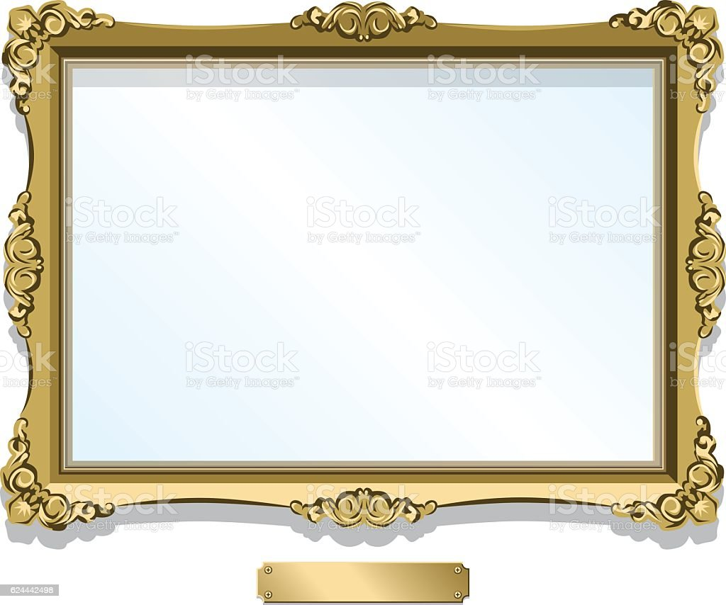 Gold gilded frame with plaque isolated on white vector art illustration