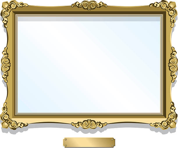 illustrations, cliparts, dessins animés et icônes de gold gilded frame with plaque isolated on white - toile