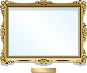 Gold gilded frame with plaque isolated on white