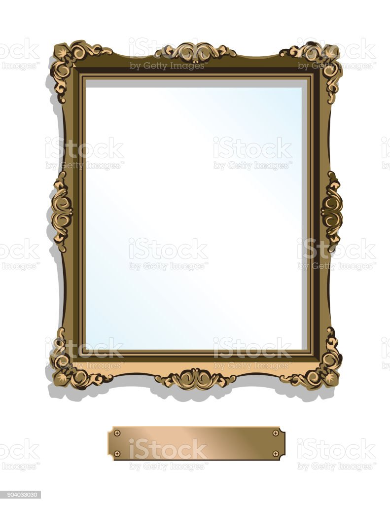 Gold gilded frame with plaque isolated on white - vertical vector art illustration