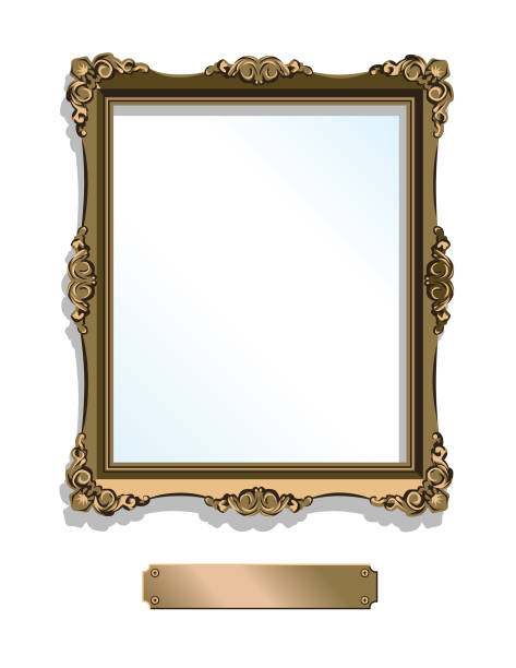 gold gilded frame with plaque isolated on white - vertical - picture frame borders stock illustrations, clip art, cartoons, & icons