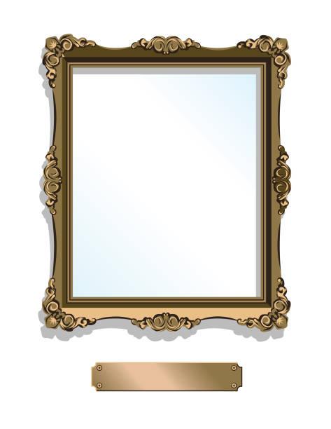 illustrations, cliparts, dessins animés et icônes de encadrement doré or avec plaque isolé sur blanc - vertical - galerie d'art