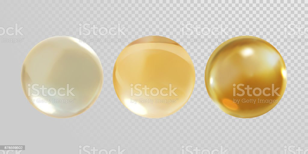 Gold glass ball isolated on transparent background. 3D realistic vector golden oil vitamin E pill capsule crystal glass ball texture vector art illustration