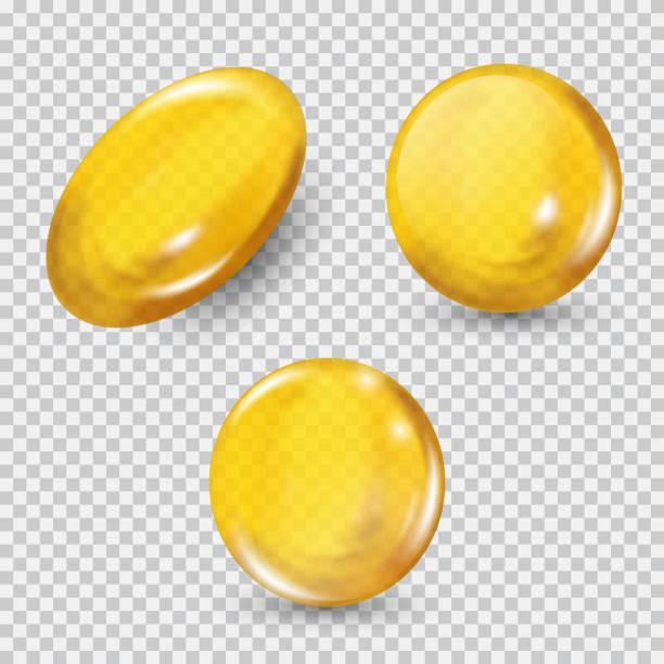 bildbanksillustrationer, clip art samt tecknat material och ikoner med guld glas boll in isolerade på transparent bakgrund. regenerera ansikte grädde och vitamin komplex koncept - omega 3