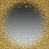 Gold glitter bright vector, transparent background. Golden sparkles, shiny texture,. Excellent for your greeting cards, luxury invitation, advertising, certificate