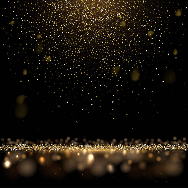 złoty brokat i błyszczący złoty deszcz na czarnym tle. wektor kwadratowe luksusowe tło. - migoczący stock illustrations