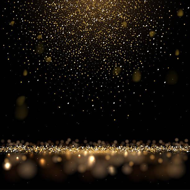 illustrations, cliparts, dessins animés et icônes de paillettes d'or et pluie dorée brillante sur le fond noir. fond de luxe carré de vecteur. - gold
